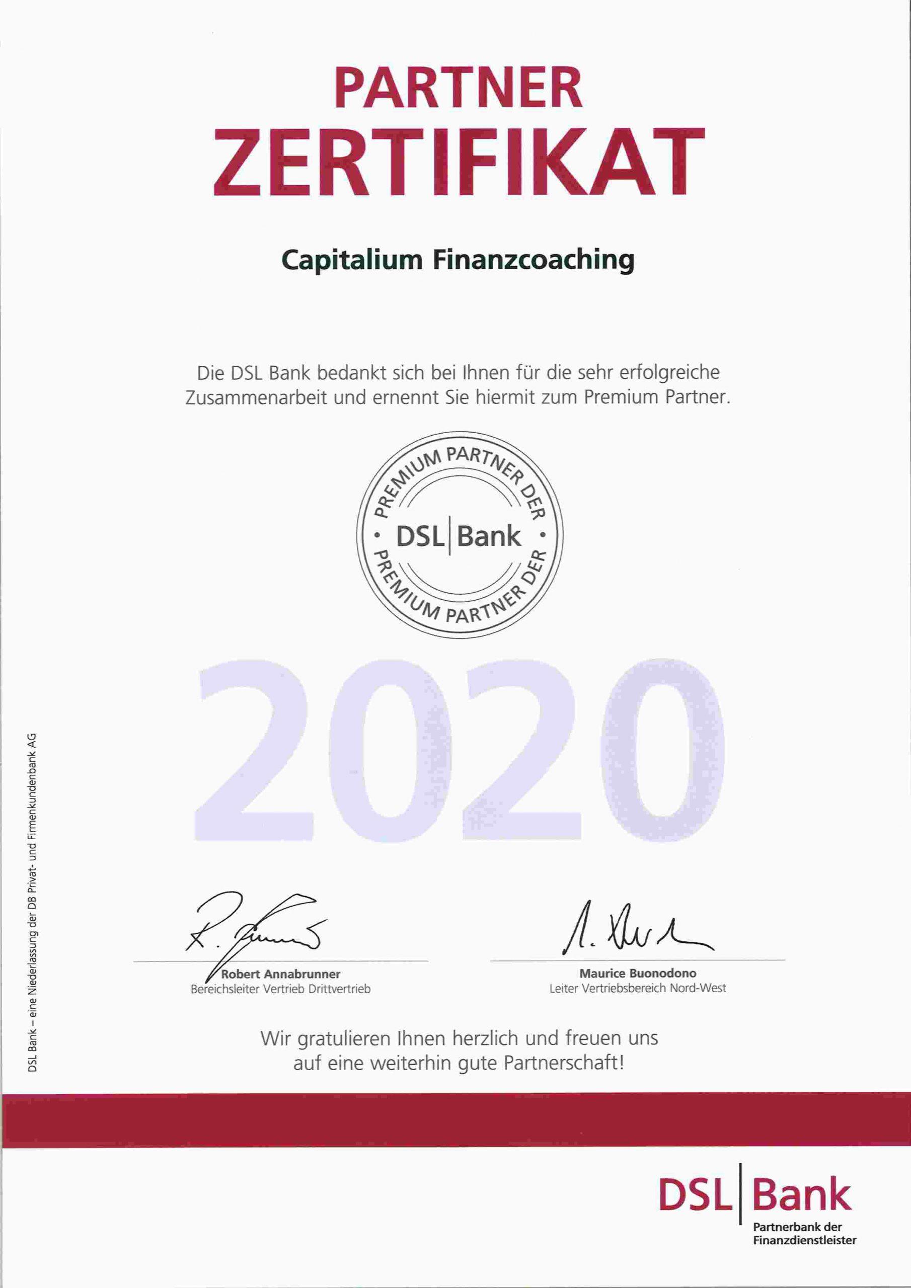 DSL Premium Partner 2020 Capitalium Finanzcoaching Baufinanzierung Hamburg Kredit Immobilienkauf Hilfe Unterstützung