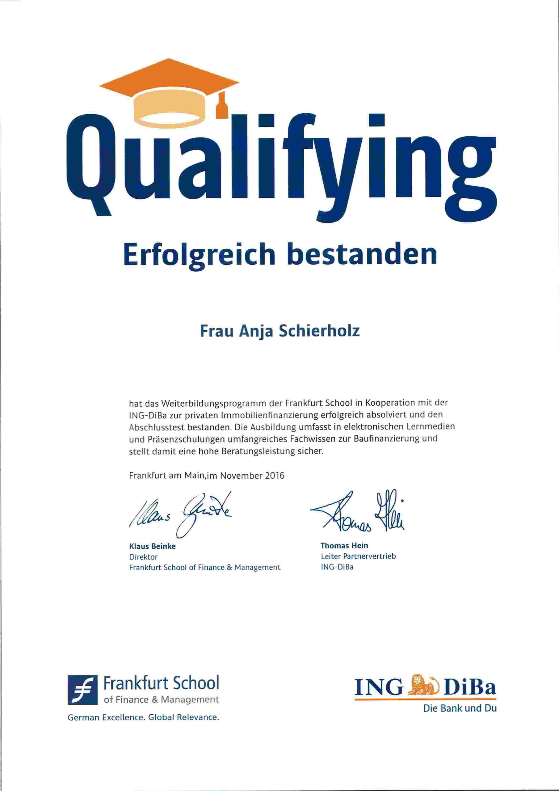 Urkunde Anja Willumeit Frankfurt School_Capitalium Finanberater Baufinanzierung Hamburg Kredit Immobilienkauf Matthias Drews Baufi
