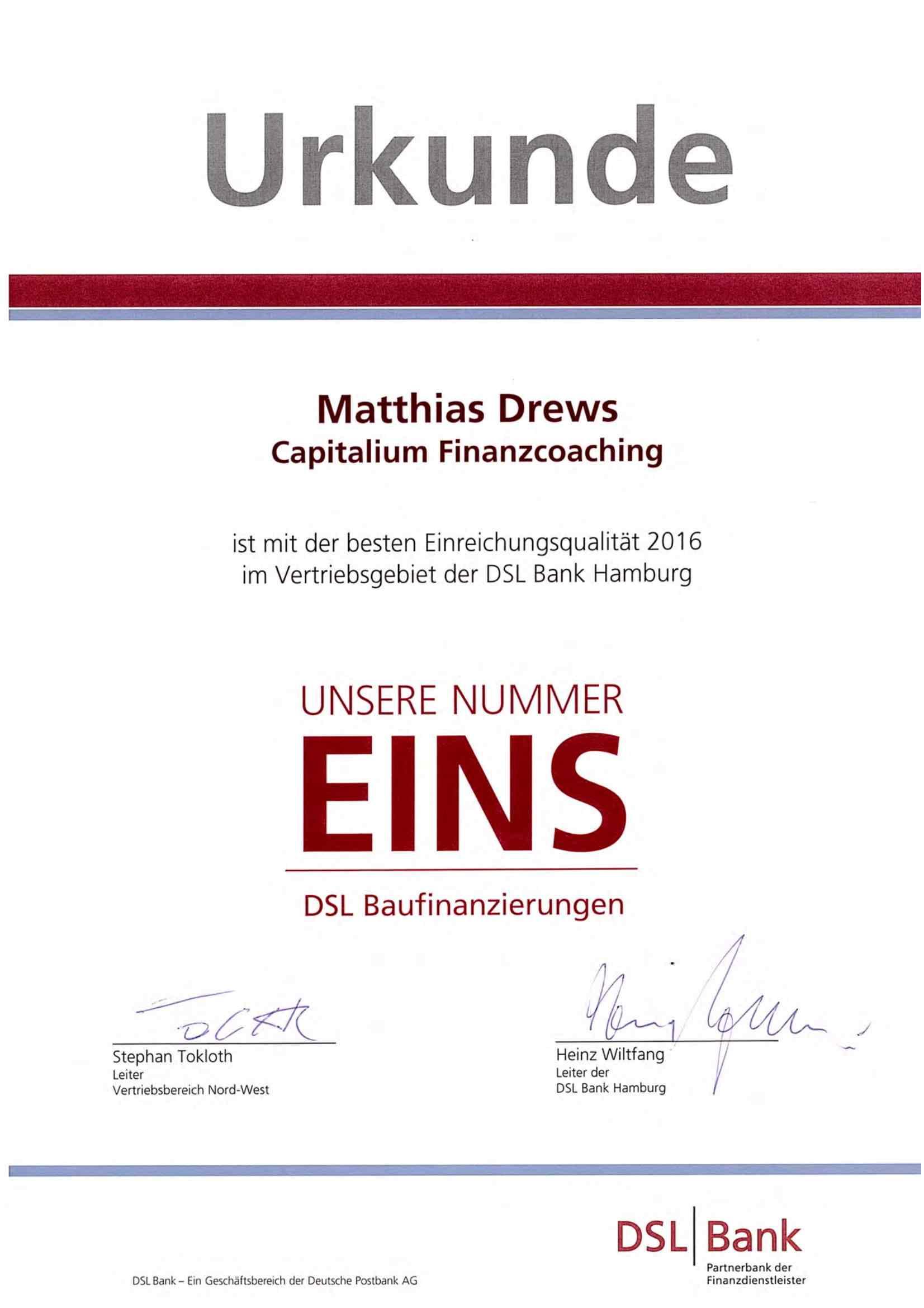 Urkunde DSL Bank_Capitalium Finanberater Baufinanzierung Hamburg Kredit Immobilienkauf Matthias Drews Anja Willumeit Baufi