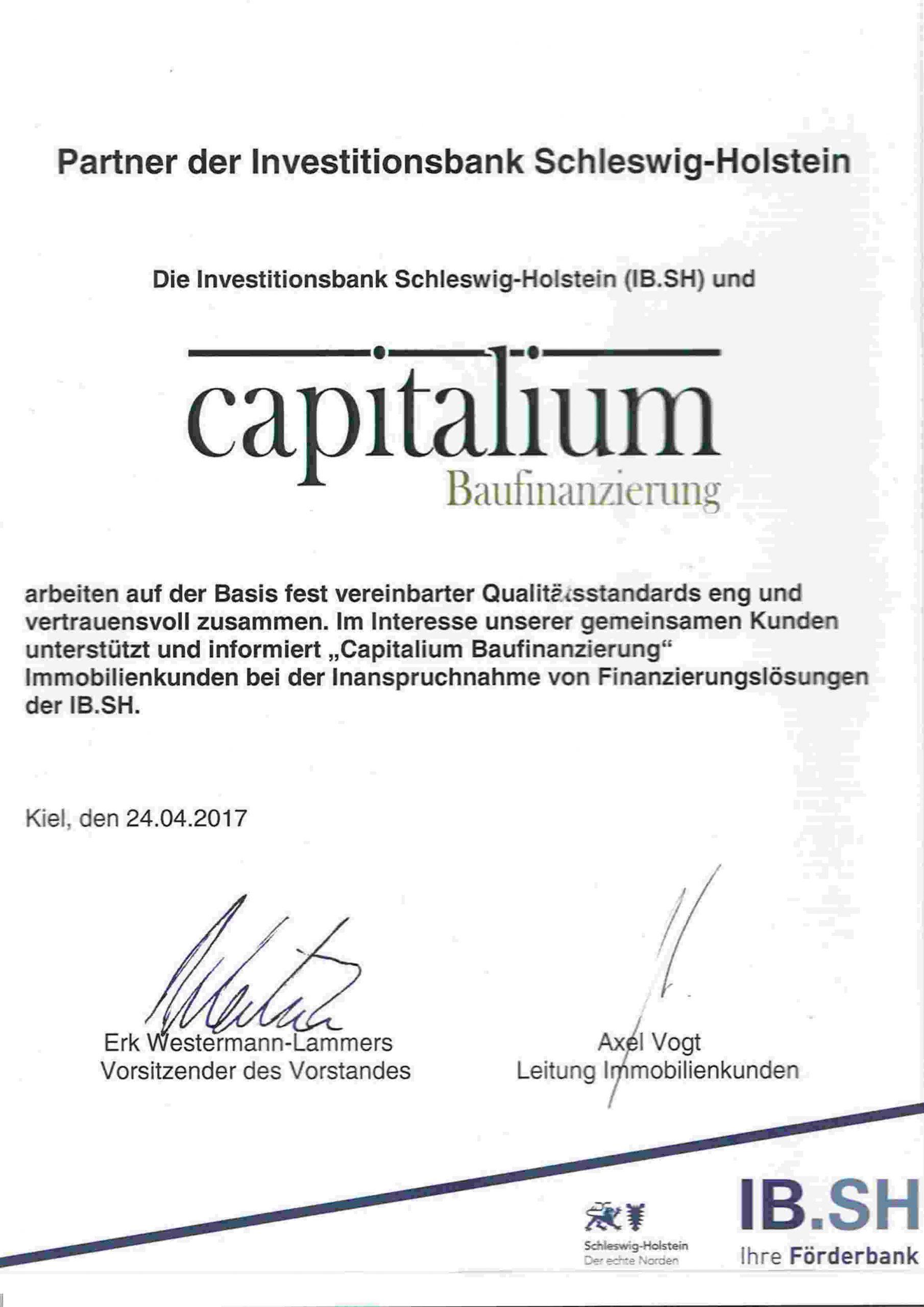 Zertifikat IB.SH Capitalium Finanzierungsberatung Baufinanzierung Hamburg Kredit Immobilienkauf Mat