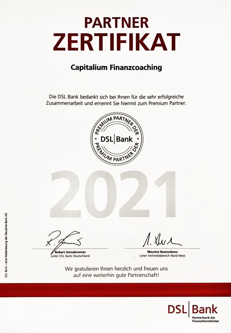 DSL Premium Partner 2021_Capitalium Finanberater Baufinanzierung Hamburg Kredit Immobilienkauf Matthias Drews Anja Willumeit