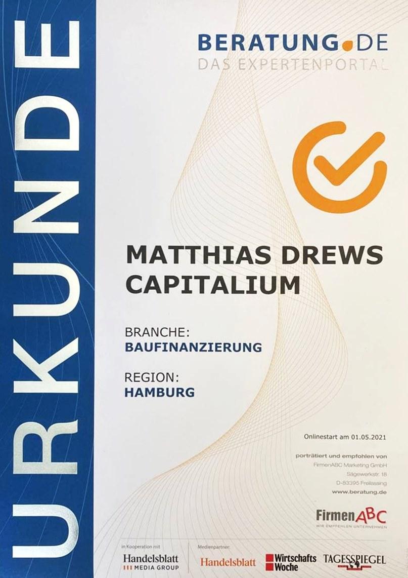 Urkunde Berater Experte Capitalium Baufinanzierung Immobilienkredit Coach Hamburg Kredit Immobilienkauf Matthias Drews Baufi