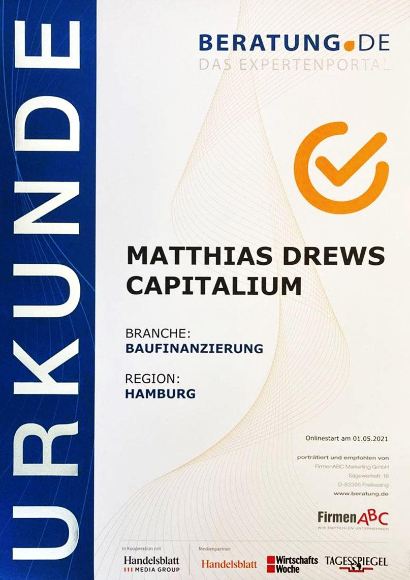 Urkunde-Berater-Experte-Capitalium-Baufinanzierung-Immobilienkredit-Coach-Hamburg-Kredit-Immobilienkauf-Matthias-Drews-Baufi