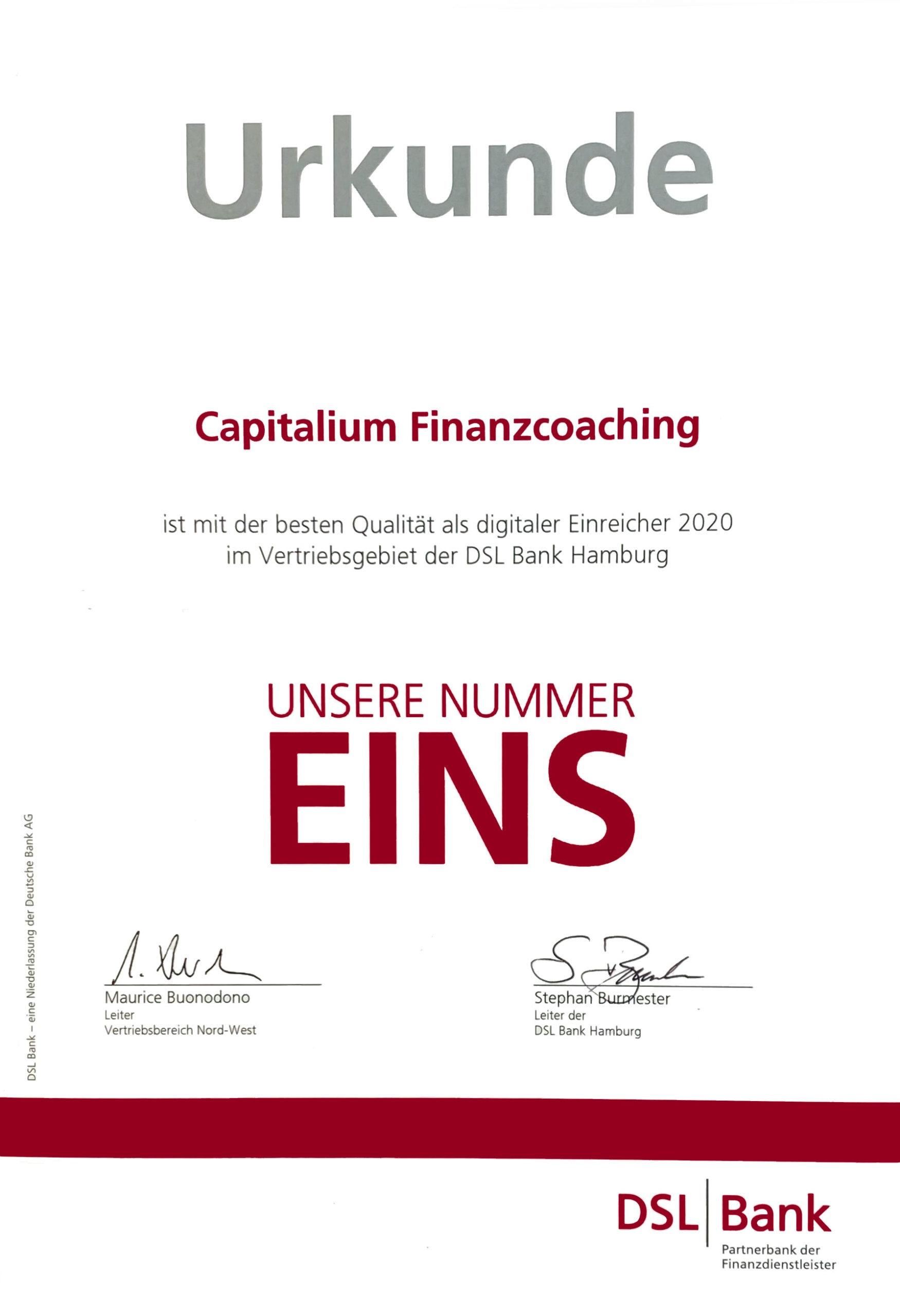 Urkunde-DSL-Bank-Qualitaet Einreichung 2020_Capitalium-Finanberater-Baufinanzierung-Hamburg-Kredit-Immobilienkauf-Matthias-Drews-Anja-Willumeit-Baufi