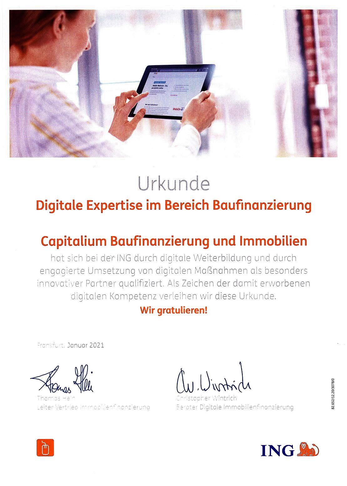 Urkunde-Digitale-Expertise-Capitalium-Finanberater-Baufinanzierung-Hamburg-Kredit-Immobilienkauf-Matthias-Drews-Baufi-ING-Diba